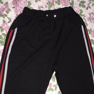 Pants - Black Joggers w/ Red and White Stripes on sides